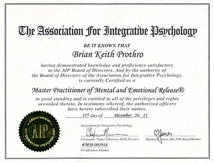 MER Certification (Mental Emotional Technique) - Brian Prothro Intuitive Core Coaching