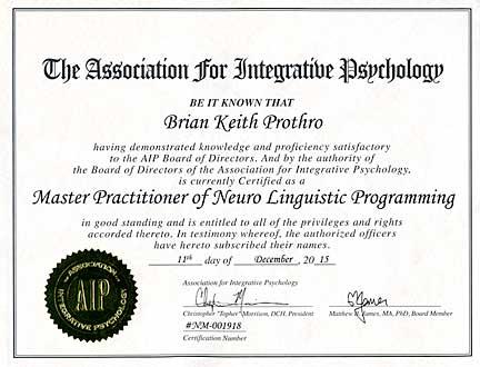 NLP Certification (Neuro Linguistic Programming) - Brian Prothro Intuitive Core Coaching
